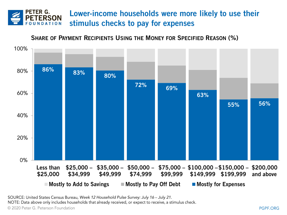 Lower-income households were more likely to use their stimulus checks to pay for expenses