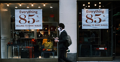 Signs advertise a sale in a New York City business on October 15, 2020 in New York City.