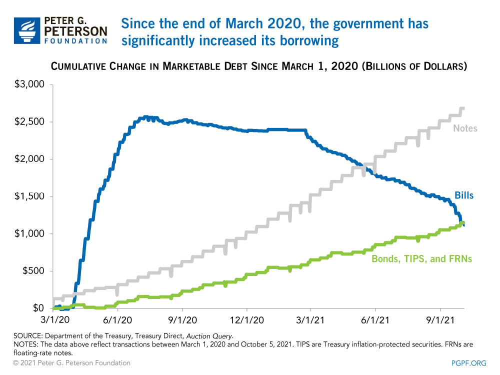 Since the end of March 2020, the government has significantly increased its borrowing