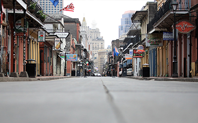 Empty street in New Orleans during Coronavirus pandemic
