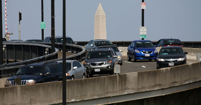 he Washington Monument can be seen as traffic travels over the Frederick Douglass Memorial Bridge also known as the South Capitol Street bridge in Washington, DC.