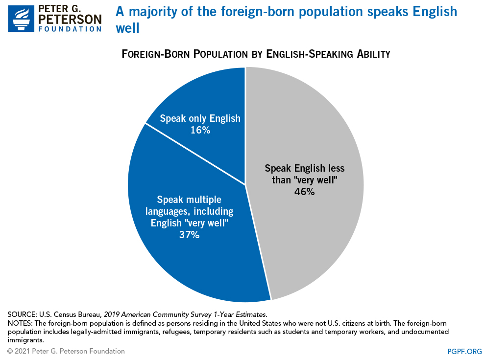 A majority of the foreign-born population speaks English well