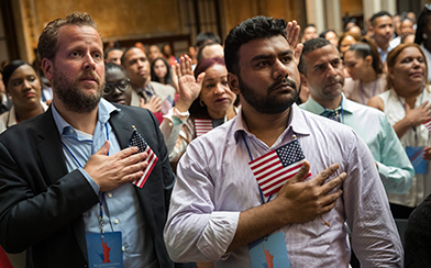 New US citizens during nationalization ceremony