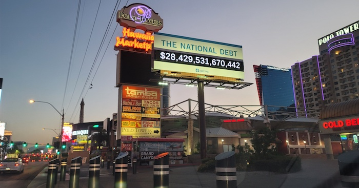 Billboard shows the national debt in USD