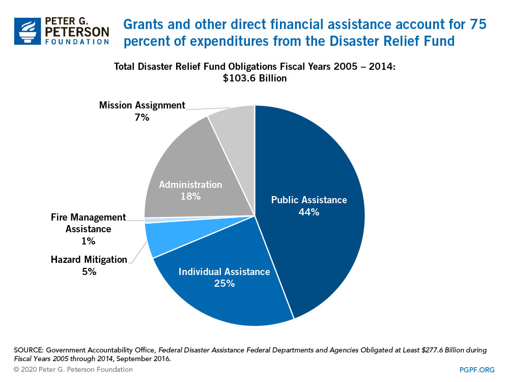 Grants and other direct financial assistance account for 75 percent of expenditures from the Disaster Relief Fund