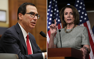 Steve Mnuchin and Nancy Pelosi