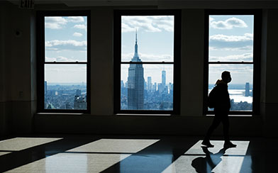 View of Manhattan from an empty office building.
