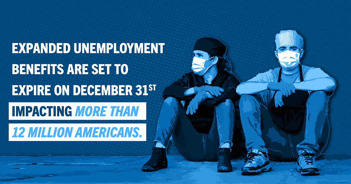 Expanded unemployment benefits are set to expire on December 31st impacting more than 12 Million Americans