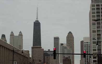 CHICAGO, IL - FEBRUARY 13: The John Hancock Center (C), one of Chicago's most famous skyscrapers, is changing its name on February 13, 2018 in Chicago, Illinois. John Hancock Financial, the building's former owners and namesake, has asked that its name an